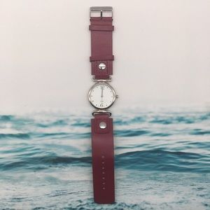 Round Face Red Leather Strap Watch